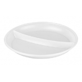 Šķīvis, diametrs 220 mm, 2 sekcijas, balts, PS, 100 gab.